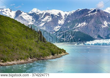 A Scenic View From A Ship Of The Glacier Bay National Park And Preserve.