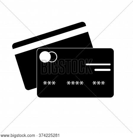 Vector Credit Card Icon. Bank Debit Card. Black Card For Withdrawing Money From An Atm.