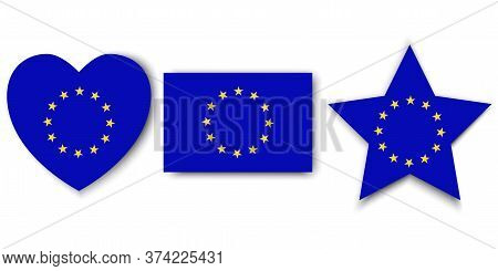 Eu Flag Icons. Collection Of Flags Of The European Union. Different Forms Of Emblems Of European Cou
