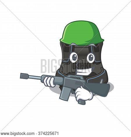 A Charming Army Scuba Buoyancy Compensator Cartoon Picture Style Having A Machine Gun
