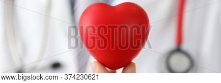 Doctor Holds Mock Heart With Black Dot, Pacemaker. Reduce Risks Heart Disease. Get Advice From Speci
