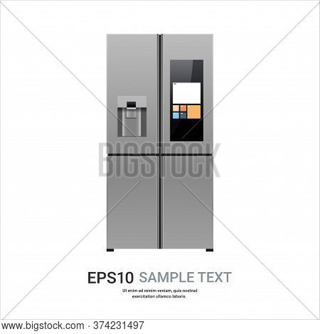 Stainless Steel Refrigerator With Display Side By Side Fridge Freezer Home Appliance Concept Vector