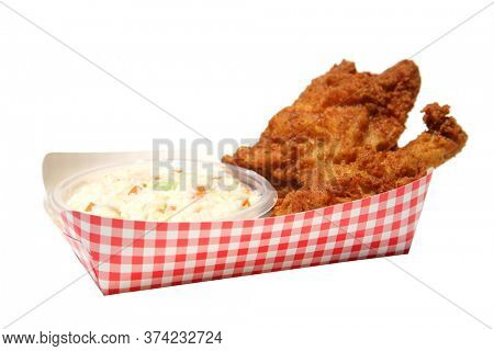 Fried Chicken with Coleslaw. Crispy Kentucky Fried Chicken. Isolated on white. Room for text. Hot and Crispy Fried Chicken.
