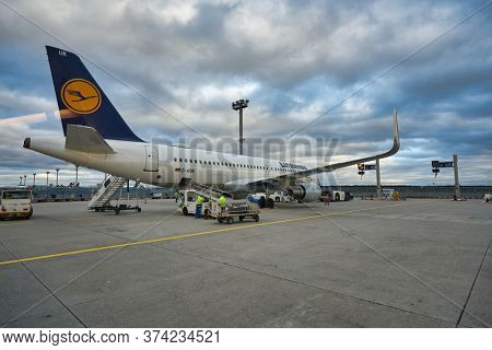 FRANKFURT AM MAIN, GERMANY - CIRCA JANUARY, 2020: Airbus A320-200 operated by Lufthansa as seen at Frankfurt am Main Airport.