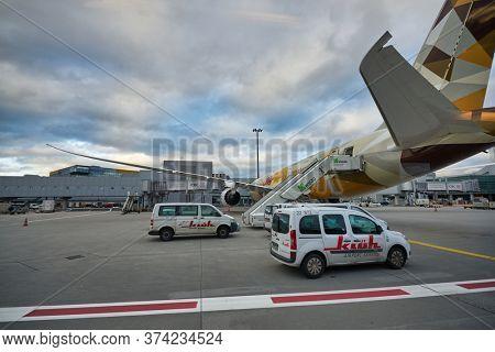 FRANKFURT AM MAIN, GERMANY - CIRCA JANUARY, 2020: Boeing 787-9 Dreamliner operated by Etihad Airways at Frankfurt am Main Airport apron.