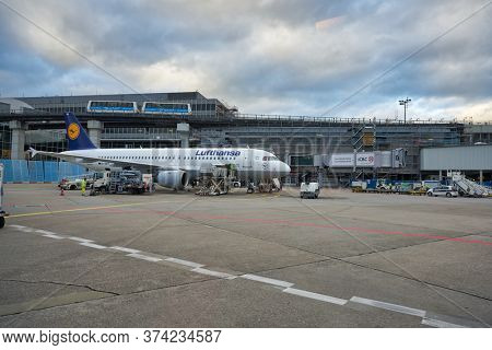 FRANKFURT AM MAIN, GERMANY - CIRCA JANUARY, 2020: Airbus A320-200 operated by Lufthansa as seen at Frankfurt am Main Airport apron.