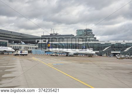 FRANKFURT AM MAIN, GERMANY - CIRCA JANUARY, 2020: Airbus A321 operated by Lufthansa as seen at Frankfurt am Main Airport apron.