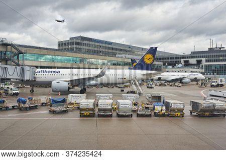 FRANKFURT AM MAIN, GERMANY - CIRCA JANUARY, 2020: Airbus A320neo operated by Lufthansa as seen at Frankfurt am Main Airport apron.