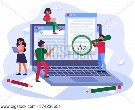 Blogging And Seo Marketing Concept. Authors Or Journalists Writing Articles. Freelance Writers With