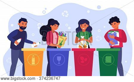 Waste Sorting Concept. Happy People Putting Plastic, Glass, Bio And Paper Garbage Into Different Dum
