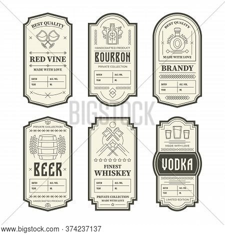 Various Vintage Alcohol Bottle Labels Set. Geometric Gin, Bourbon, Whiskey, Wine And Liquor Emblem D