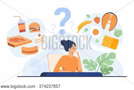 Cartoon Woman Choosing Between Healthy Meal And Unhealthy Food Isolated Flat Vector Illustration. Ju