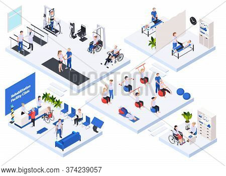 Rehabilitation Physiotherapy Clinic Concept Isometric Layout With Reception Waiting Room Massage Tre