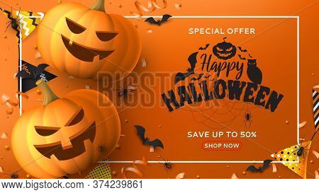 Halloween Sale Horizontal Banner. Holiday Promo Banner With Black Spiders And Bats, Scary Pumpkins,