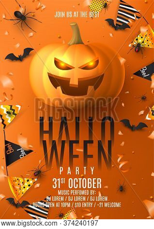 Happy Halloween Party Poster. Holiday Promo Banner With Black Spiders And Bats, Scary Pumpkin, Color