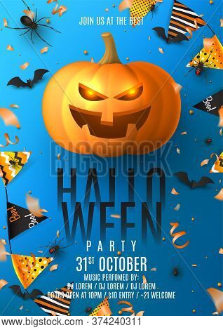 Happy Halloween Party Flyer Invitation. Holiday Poster With Black Spiders And Bats, Scary Pumpkin, C