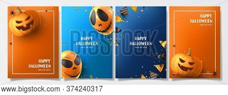 Set Of Halloween Holiday Flyers. Holiday Posters With Realistic Balloons, Black Spiders, Scary Pumpk