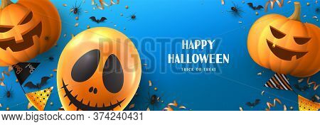 Happy Halloween Sale Horizontal Banner. Holiday Promo Banner With Spooky Balloon, Black Spiders And