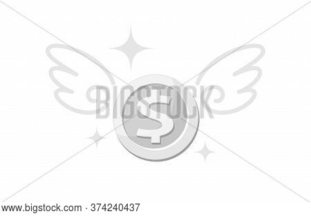 Money Silver Coin And Wing, Icon Penny And Wings Fly Concept, Symbol Dollar Money Coin Fly Up, Loss