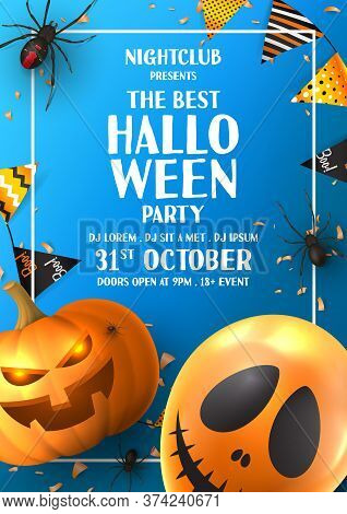 Happy Halloween Party Flyer. Holiday Promo Banner With Black Spiders, Scary Pumpkin, Colorful Garlan