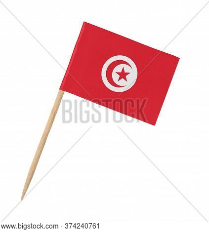 Small Paper Tunisian Flag On Wooden Stick