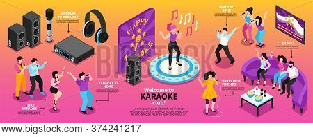 Isometric Karaoke Infographics With Singing People Characters Holding Microphones Headphones And Lou