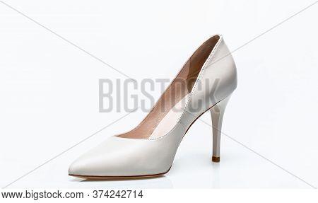 Stylish Classic Women Leather Shoe. White Shoe For Women. Beauty And Fashion Concept. Fashionable Wo