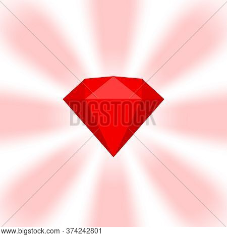 Red Diamond Gemstone On Zoom Comics, Red Diamonds Jewelry Icon, Red Gems On Soft Rays Burst Shine Ba