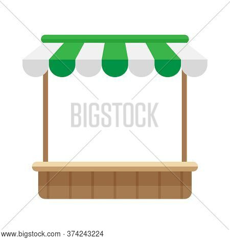 Icon Storefront Shop Green Awning Roof, Mini Market Store Shop Wooden With Awnings, Illustration Woo