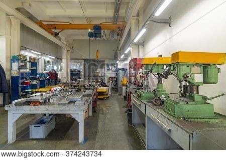 The Interior Of The Metalworking Shop. Modern Industrial Factory