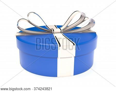 Round Blue Gift Box. 3d Rendering Illustration Isolated On White Background