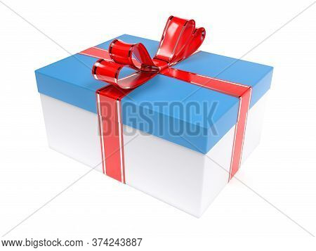 Christmas Gift. Blue Box With Red Ribbon Bow. 3d Rendering Illustration Isolated On White Background