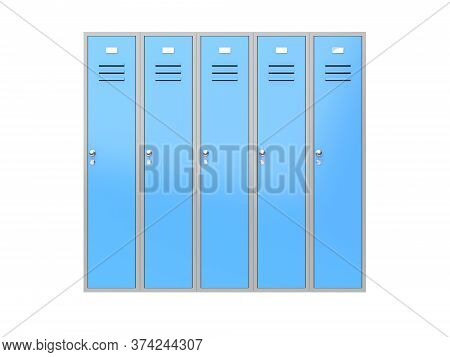Blue Gym Closed Lockers. 3d Rendering Illustration Isolated On White Background
