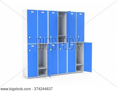 Blue Lockers. Two Row Section Of Lockers For Schoool Or Gym. 3d Rendering Illustration Isolated On W