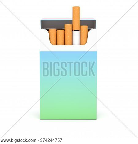 Open Pack Of Cigarettes. Colored Blank Paper Package. 3d Rendering Illustration Isolated On White Ba