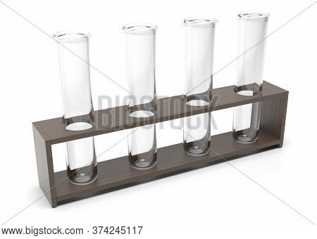 Chemical Glass Tubes. 3d Rendering Illustration Isolated On White Background