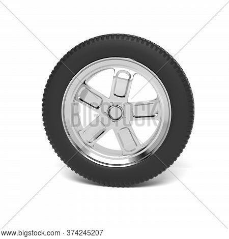 Car Wheel. 3d Rendering Illustration Isolated On White Background