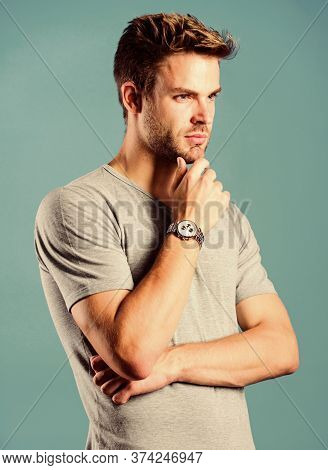 Watch Repair. Keep Punctual. Man Well Groomed Handsome Hipster Wrist Watch. Expensive Accessory. Con