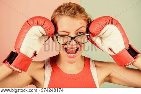 Successful Female. Smart Strong And Sexy. Super Woman Concept. Successful Womanhood. Woman Boxing Gl