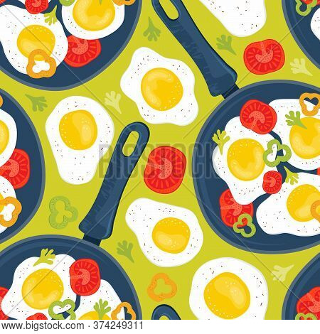 Seamless Pattern Fried Eggs In A Frying Pan With Vegetables, Tomatoes, Peppers. Healthy Brunch On A