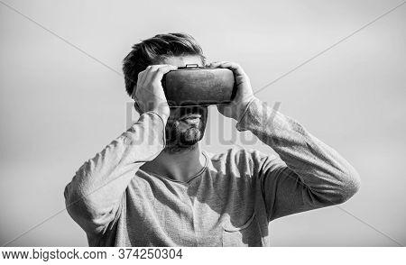 Man Wear Wireless Vr Glasses Headset. Use Modern Technology. Virtual Reality Goggles. Digital Future