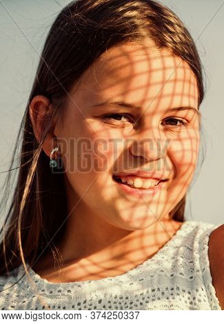 Child Pleased With Warm Sunlight Looks Relaxed Blue Sky Background. Take Care. Summer Care. Sunscree