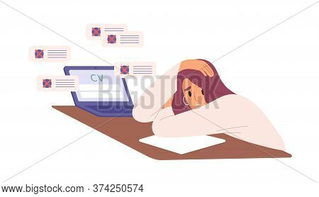 Unhappy Woman With Resume Rejected By Employer Vector Flat Illustration. Hopeless Female Sit On Desk