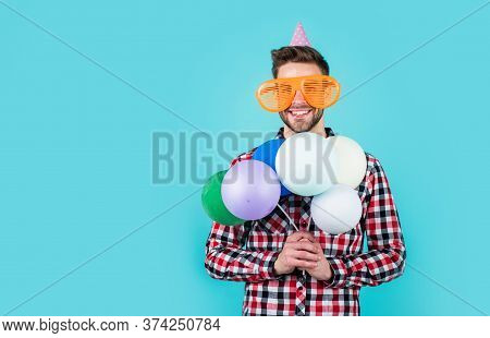 This Is For You. Crazy Party Man On Happy Holiday. Fathers Day Concept. Handsome Cheerful Young Man
