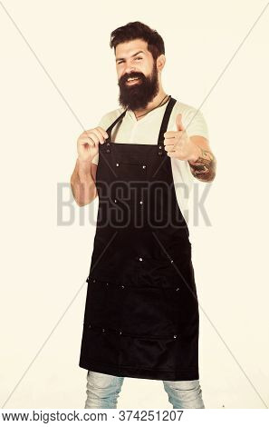 Barbecue Menu. Bearded Hipster Wear Apron For Barbecue. Roasting And Grilling Food. Tips Cooking Mea