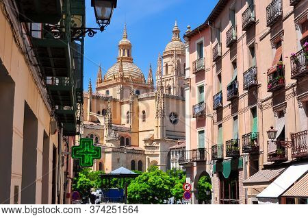 Segovia Old Town Streets With Segovia Cathedral At Background, Spain