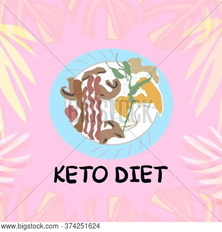 Keto Diet Pyramid Infographic Vector Illustration, For Use In Advertising For The Banner Of Nutritio