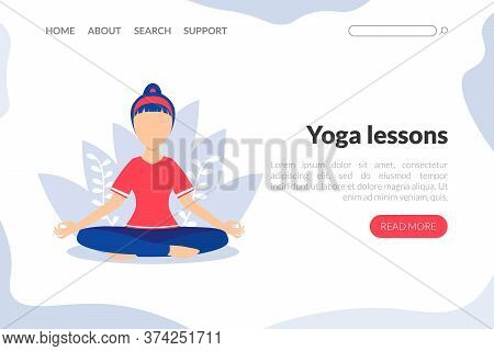 Yoga Lessons Web Landing Page Template, Young Woman Meditating In Lotus Position, Yoga School Studio