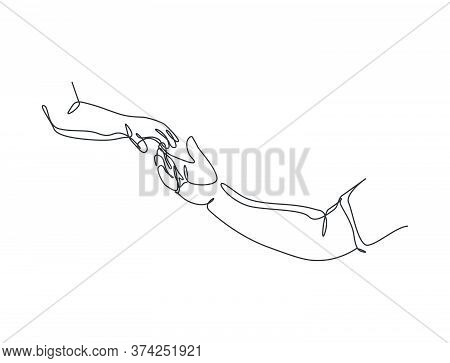 One Line Drawing Of Father Giving Hand To His Child. Parenting Motherhood Loving Care. Happy Family