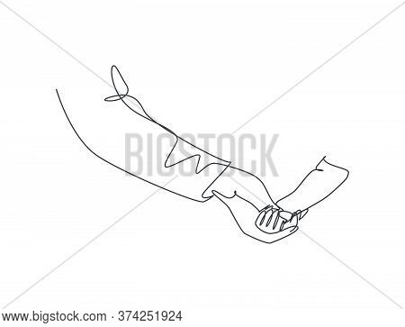 One Line Drawing Of Father Holding His Daughters Hand. Parenting Motherhood Concept. Happy Family In